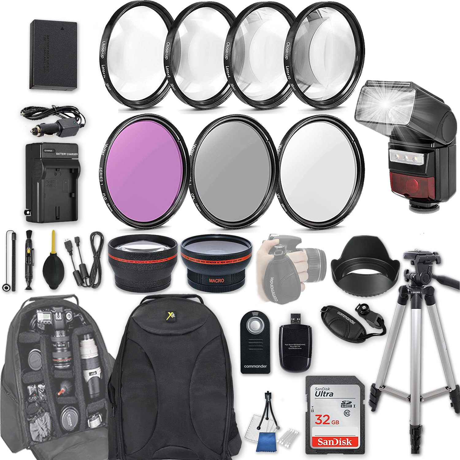 58mm 28 Pc Accessory Kit for Canon EOS Rebel SL2, 200D DSLR with 0.43x Wide Angle Lens, 2.2x Telephoto Lens, LED-Flash, 32GB SD, Filter & Macro Kits, Backpack Case, and More by 33rd Street