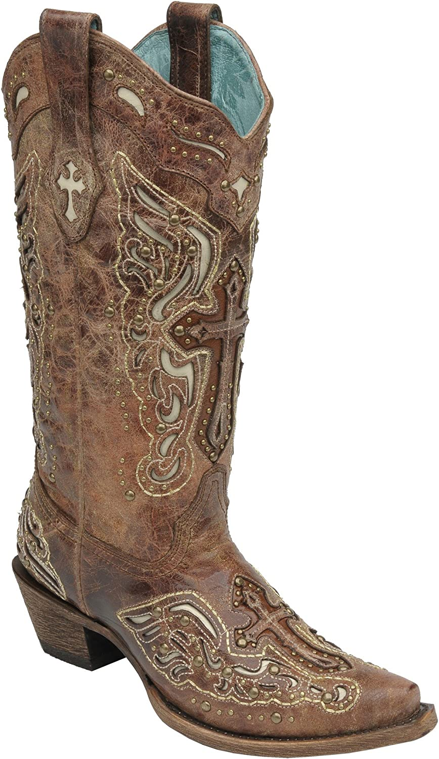 womens corral boots with crosses