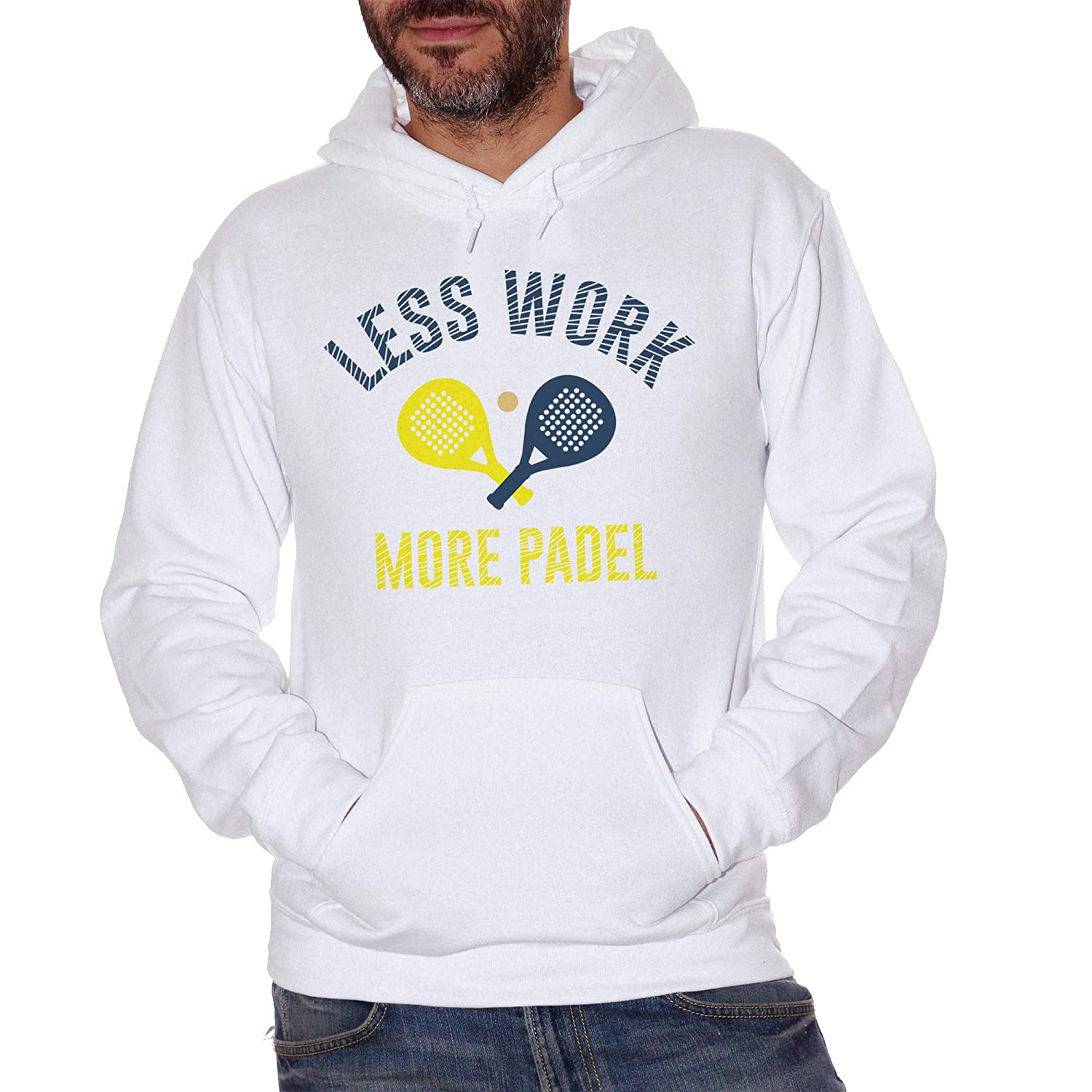 CUC Less Work More Padel Sport - Sudadera Blanco Large ...