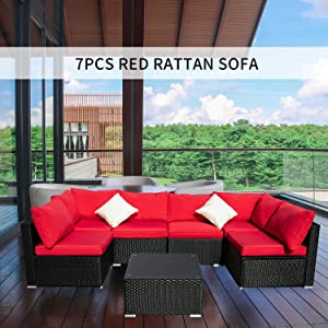 OVASTLKUY Outdoor Patio Furniture Rattan Wicker Sectional Sofa Sets Washable Seat Cushions (7pc, Red)