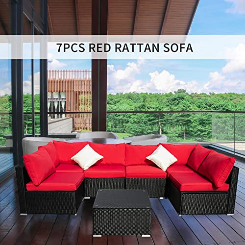 OVASTLKUY Wicker Rattan Sectional Patio Furniture Sofa Set Red