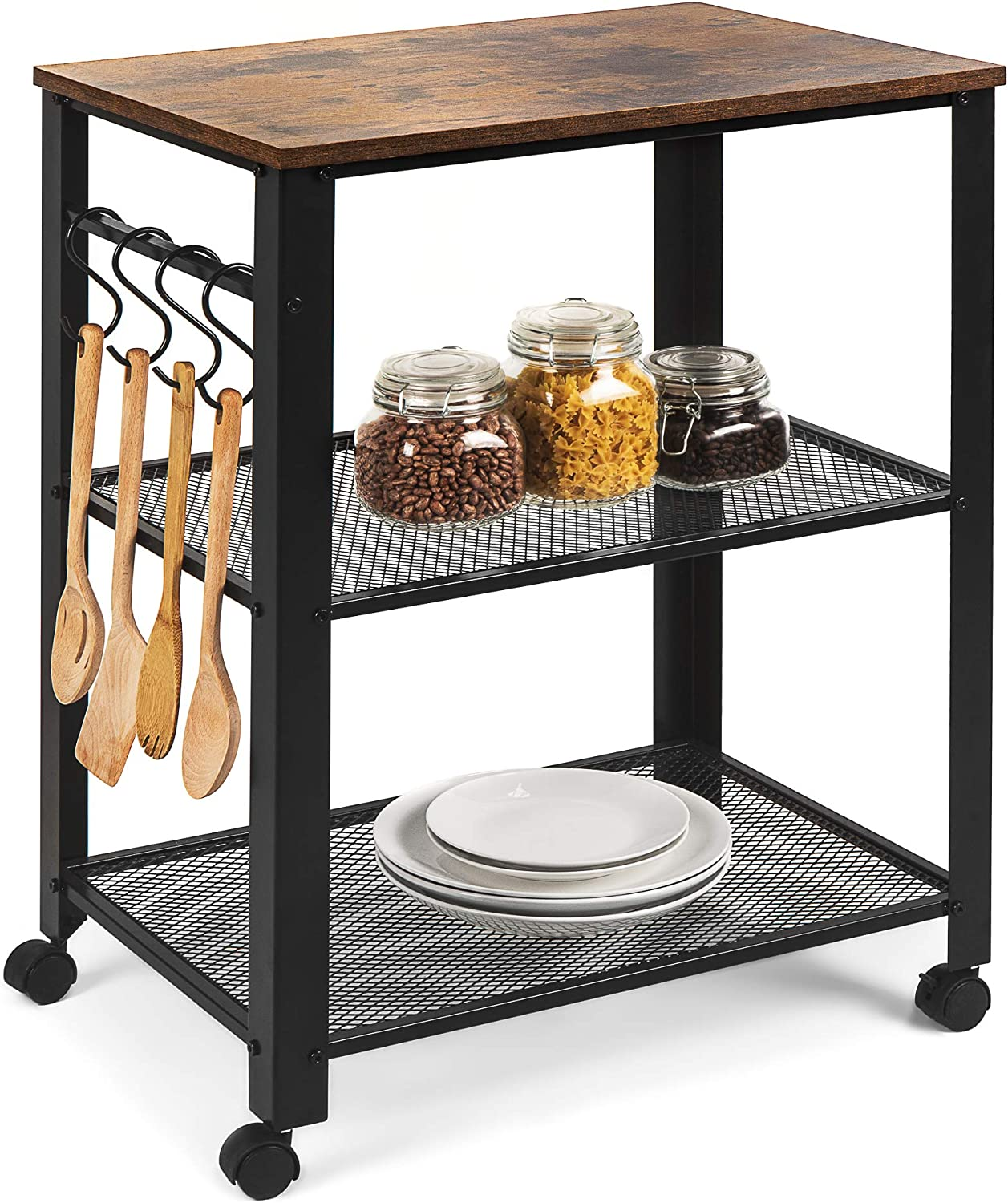 Best Choice Products 3-Tier Rustic Industrial Rolling Utility Serving Cart Organizer