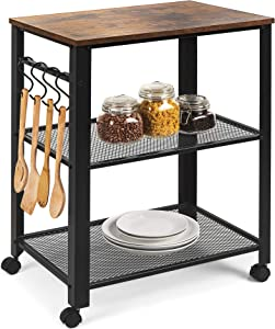 Best Choice Products 3-Tier Microwave Cart Rolling Utility Coffee Bar Serving Cart Organizer for Kitchen, Living Room Accent Furniture w/ 2 Metal Storage Shelves, 4 Hooks, Wood Finish Top, Wheel Locks