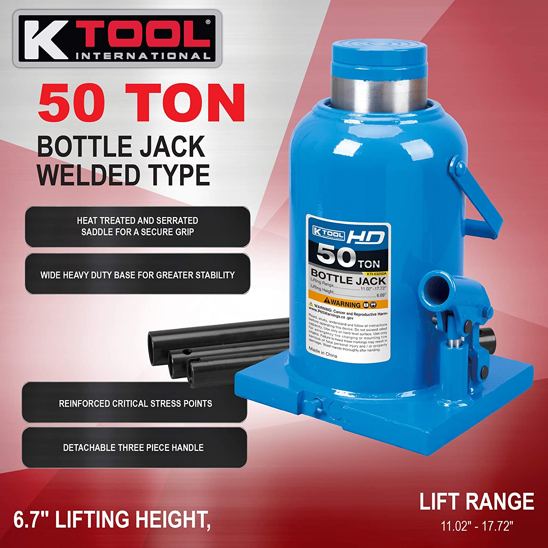 Lift Range 11.02 to 17.72 K Tool International HD 50-Ton Bottle Jack Welded Type TWO Year Warranty; KTI63250A Wide Base ; Heat Treated Screws and Saddles