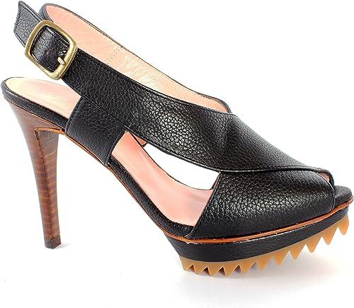 Pepe Castell Damen Sommer Leder Sandalette mit Plateau High