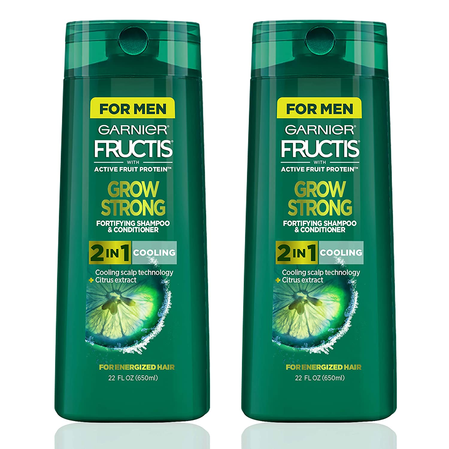 Garnier Hair Care Fructis Men's Grow Strong Cooling 2N1 Shampoo and Conditioner, Cooling Scalp Technology & Formulated with Citrus Extract, Refreshing Menthol for Energized Hair, 22 Fl Oz, 2 Count