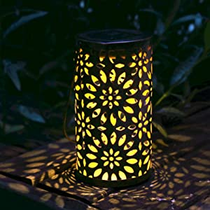 neemor Solar Lantern Lanterns Outdoor Hanging Garden Decor Outside Powered Waterproof LED Lights with Retro Design for Patio Yard Patio Table Pathway Decoration Lamp(Bronze)