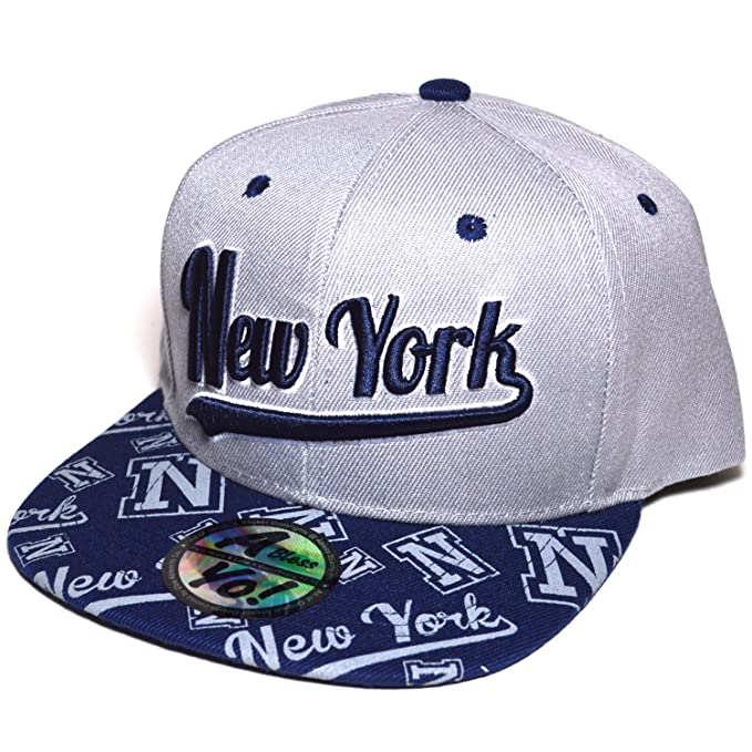 fb5e6bd6c84 New York Embroidered Snapback Flat Twill Bill Cap Baseball Football Golf Hat  AYO3034 (GRAY)