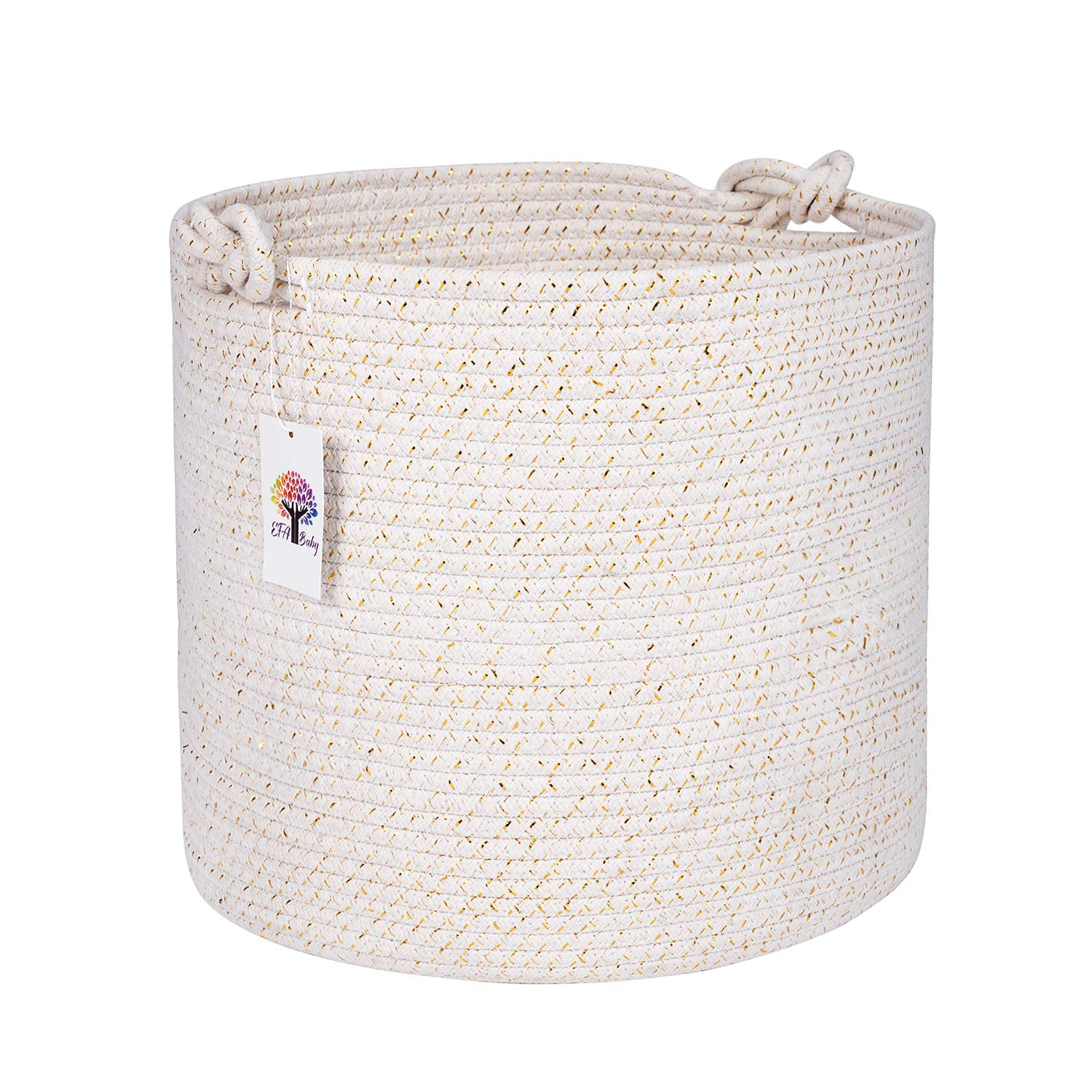 Round Woven Cotton Rope Basket: Living Room, Nursery, Laundry Hamper, Towel/ Pillow/ Blanket Storage, Toy Bin; Decorative Baskets, Baskets for Organizing (EFA Baby)