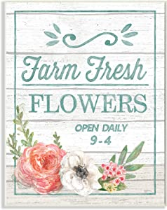 Stupell Industries Farm Fresh Flowers Rustic Wood Textured Word Wall Plaque, 10 x 15, Design by Artist Mary Urban