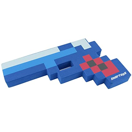 8 Bit Pixelated Blue Diamond Foam Gun Toy 10
