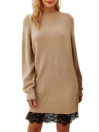Melegant Damen Herbst Kleid Elegant Spitze Knielang Langarm Pullover  Strickkleid Winter Braun d8fb976dc5