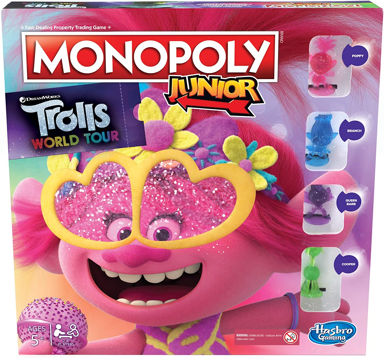 Juego de Mesa Monopoly Junior, DreamWorks Trolls World Tour Edition para niños de 5 años en adelante: Amazon.es: Juguetes y juegos