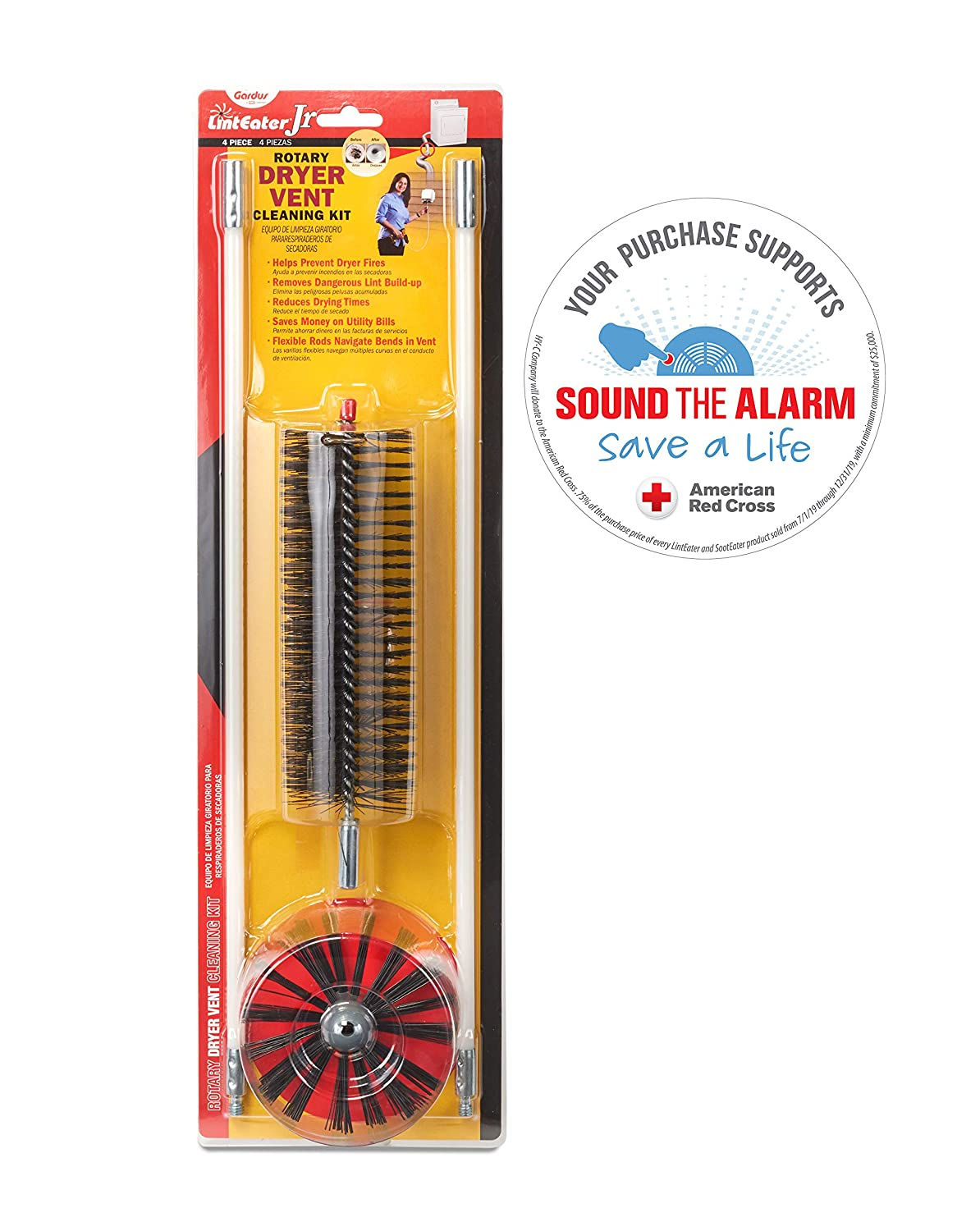 """Gardus RJR601 LintEater Junior Rotary Dryer Vent Cleaning Kit, Removes Lint & Cleans Duct Up to 6' with 2 Flexible 18"""" Rods, Includes Bonus Lint Trap Brush"""