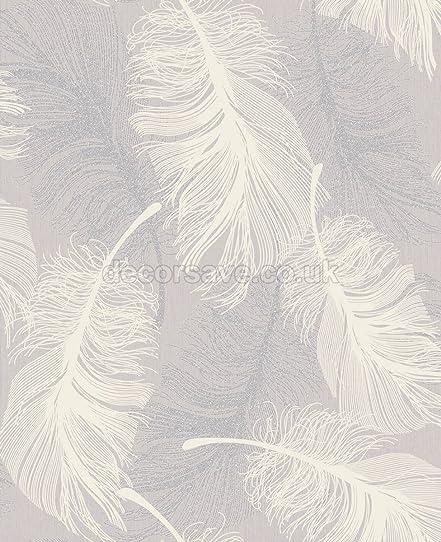 Coloroll M1072 Papier peint Motifs plumes Lilas blanc argenté ...