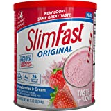 SlimFast Original Strawberries & Cream Meal Replacement Shake Mix – Weight Loss Powder – 12.83 oz Canister – 14 servings…