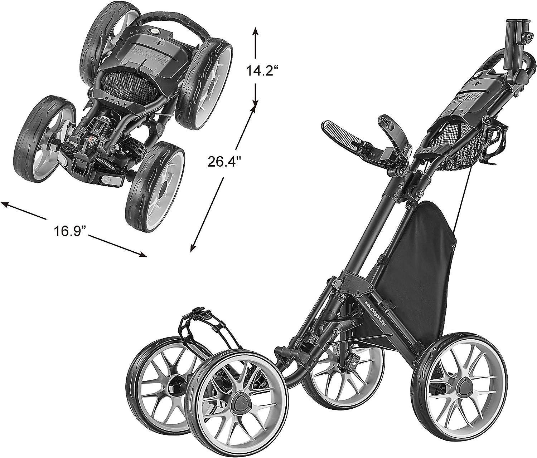 CaddyTek 4 Wheel Golf Push Cart - Caddycruiser One Version 8 1-Click Folding Trolley - Lightweight, Compact Pull Caddy Cart, Easy to Open
