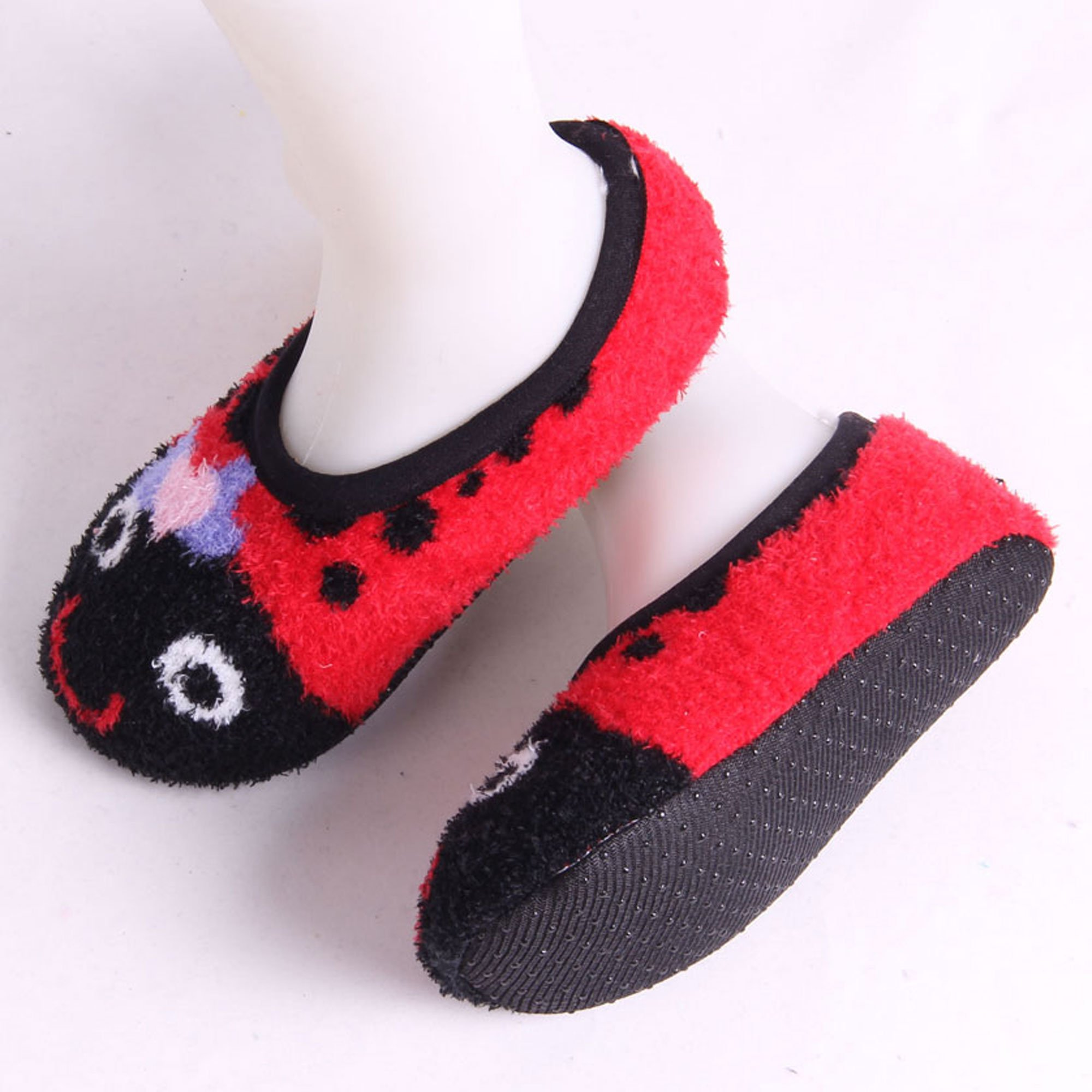 Adult Warm Microfiber Travel Animal Cozy Fuzzy Slippers Non-Slip Lined Socks/Shoes - Lady Bug (D), 3 Pairs by BambooMN (Image #2)