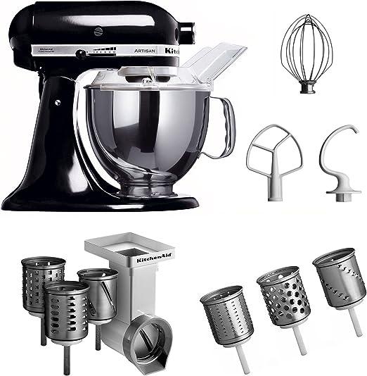 KitchenAid KSM150PSEOB + MVSA + EMVSC - Robot de cocina y juego de accesorios, 3 piezas, color negro: Amazon.es: Hogar