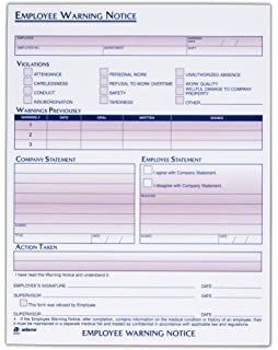 adams employee warning notice form 85 x 11 inches 2 pads of 50 forms