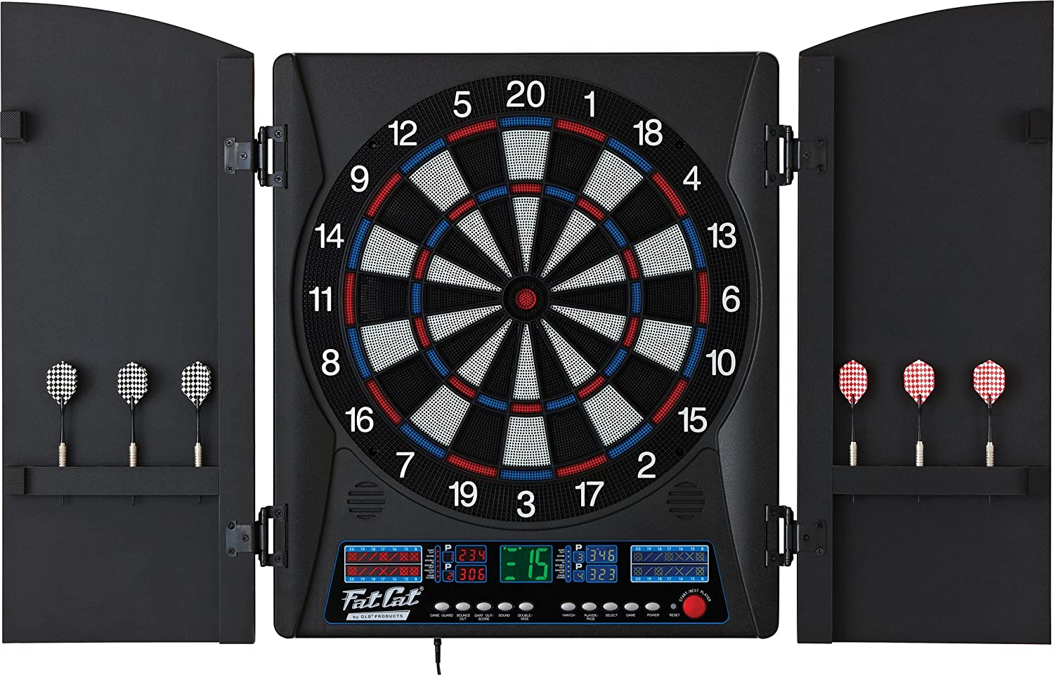 Amazon.com Fat Cat Electronx Electronic Soft Tip Dartboard with Cabinet Sports u0026 Outdoors : electronic dartboard in cabinet - Cheerinfomania.Com