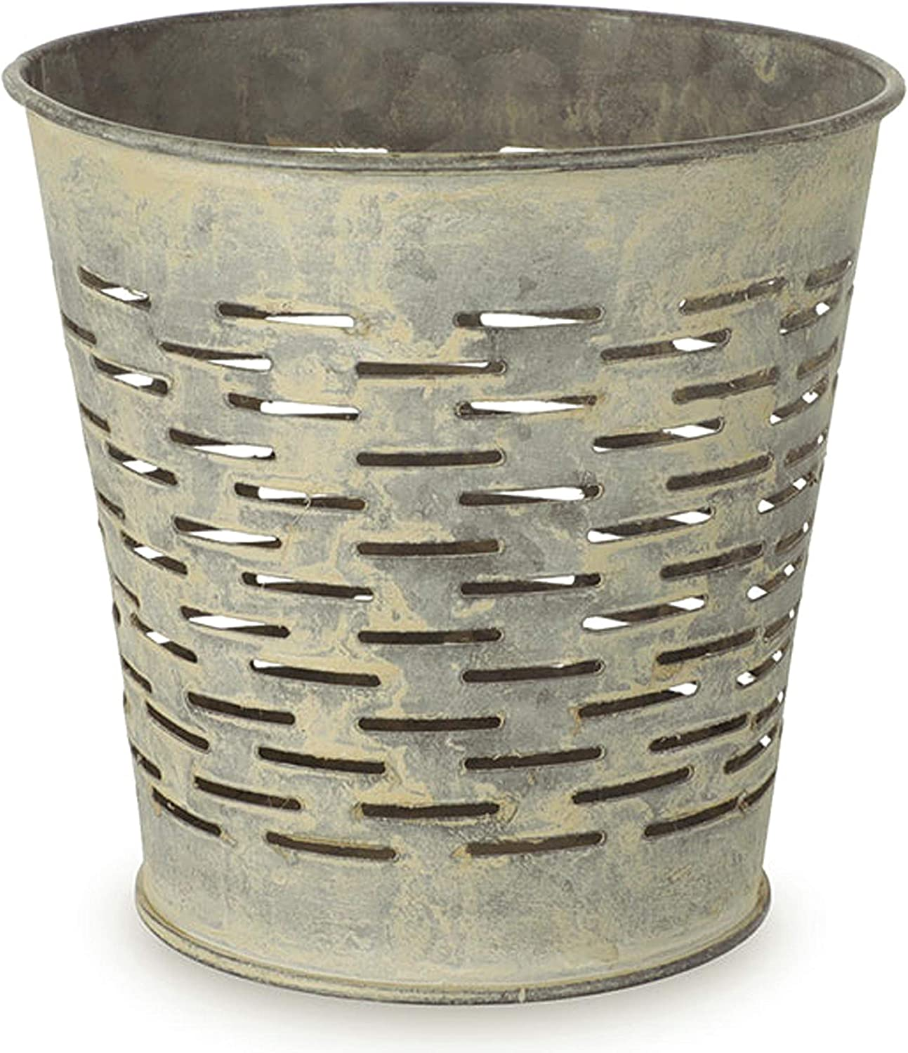 "Retro Olive Bucket Style Metal Planter (Small, 4"")"