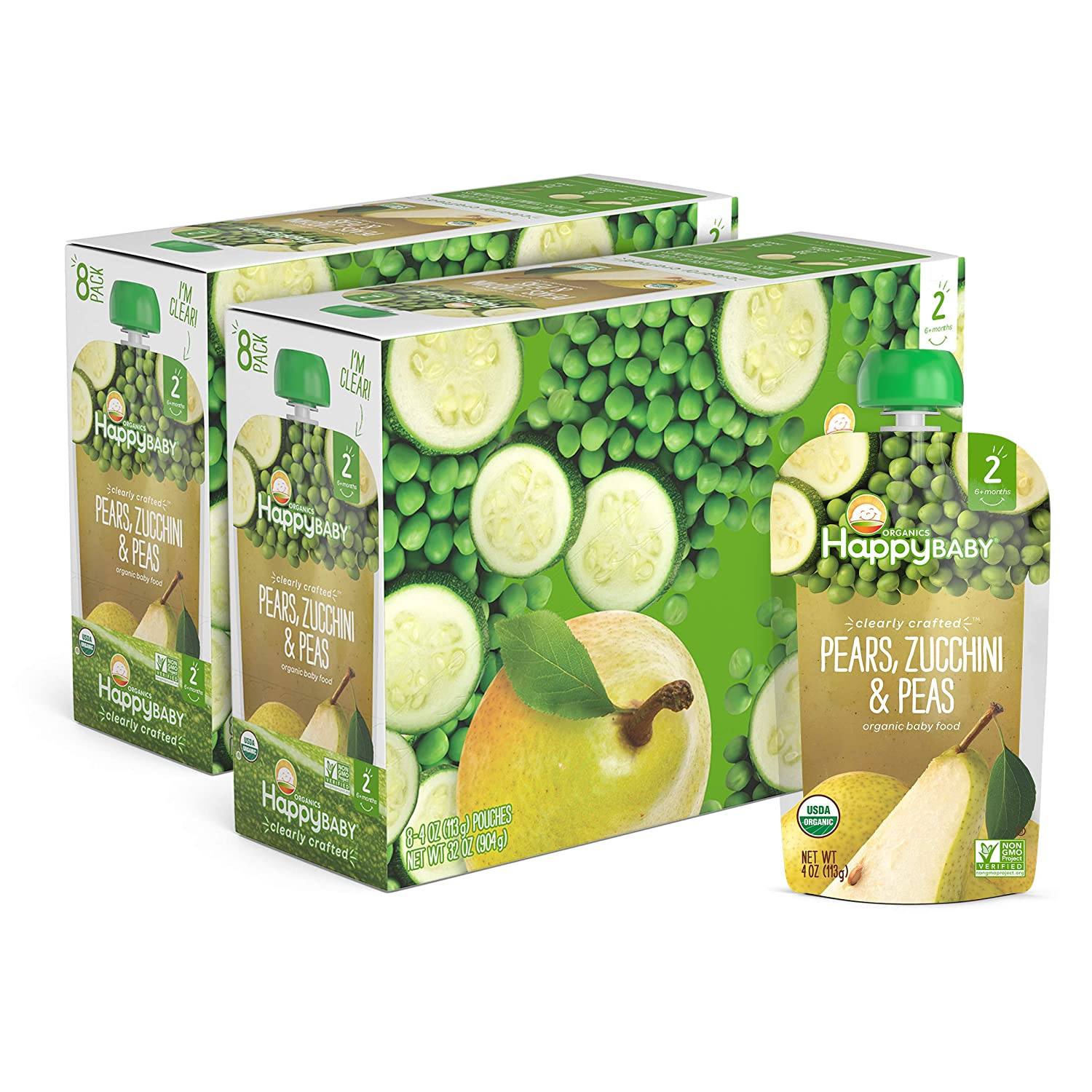 Happy Baby Organic Clearly Crafted Stage 2 Baby Food Pears, Zucchini & Peas, 4 Ounce Pouch (Pack of 16)