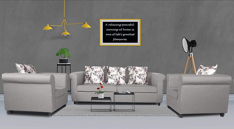 Adorn India Magnum 3-1-1 Sofa Set (Light Grey)