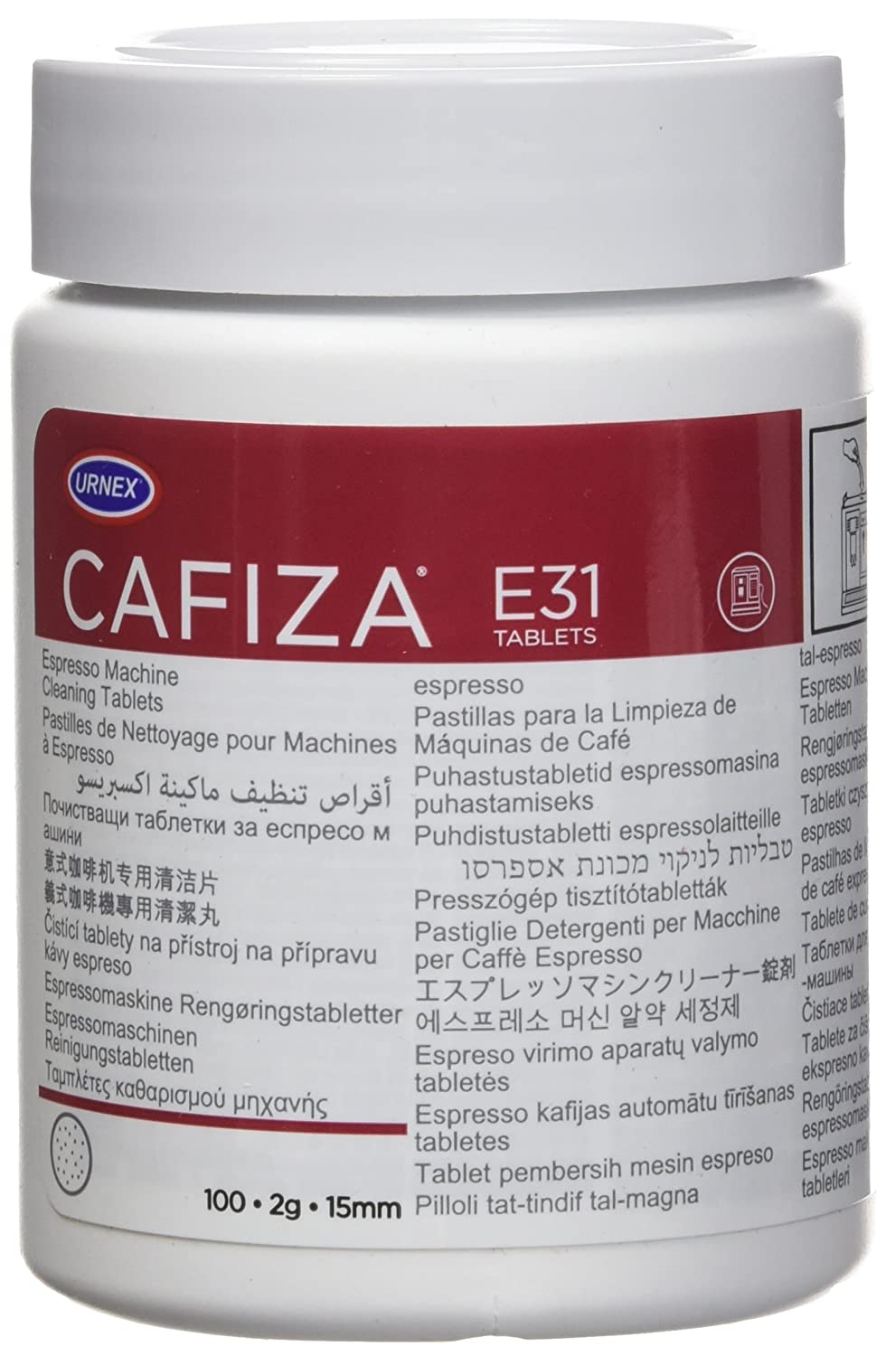 Urnex Cafiza Espresso Machine Cleaning Tablets, 100 Tablets 12-E31-UX100