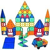 Playbees 100 Piece Magnetic Building Block Toy, 3D Magnet Tile Set Vivid Clear Colors, Durable Tile Shapes Kids Educational Creative Imagination Development
