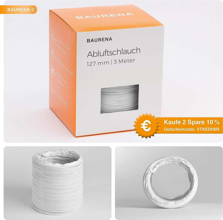 color blanco 3 m Baurena 127 mm x 3 m Tubo de salida de aire flexible