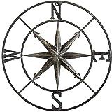 "Creative Co-op Decorative Round Metal Compass Wall Décor, 30"", Black"
