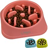 Zenify Dog Bowl Slow Feeder - Large 500ml Healthy Eating Pet Interactive Feeder with Anti-Skid Non-Slip Grip Base to Reduce Overeating Bloating Vomiting Obesity for Wet Dry Raw Food and Water (Pink)