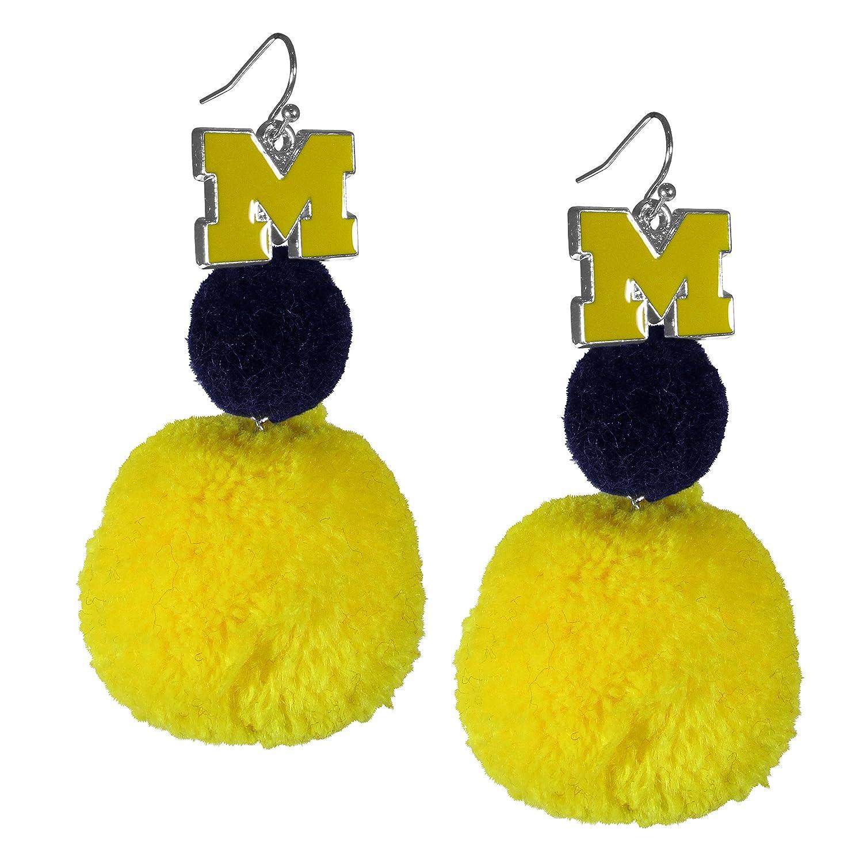 blueee One Size NCAA Womens Pom Pom Earrings