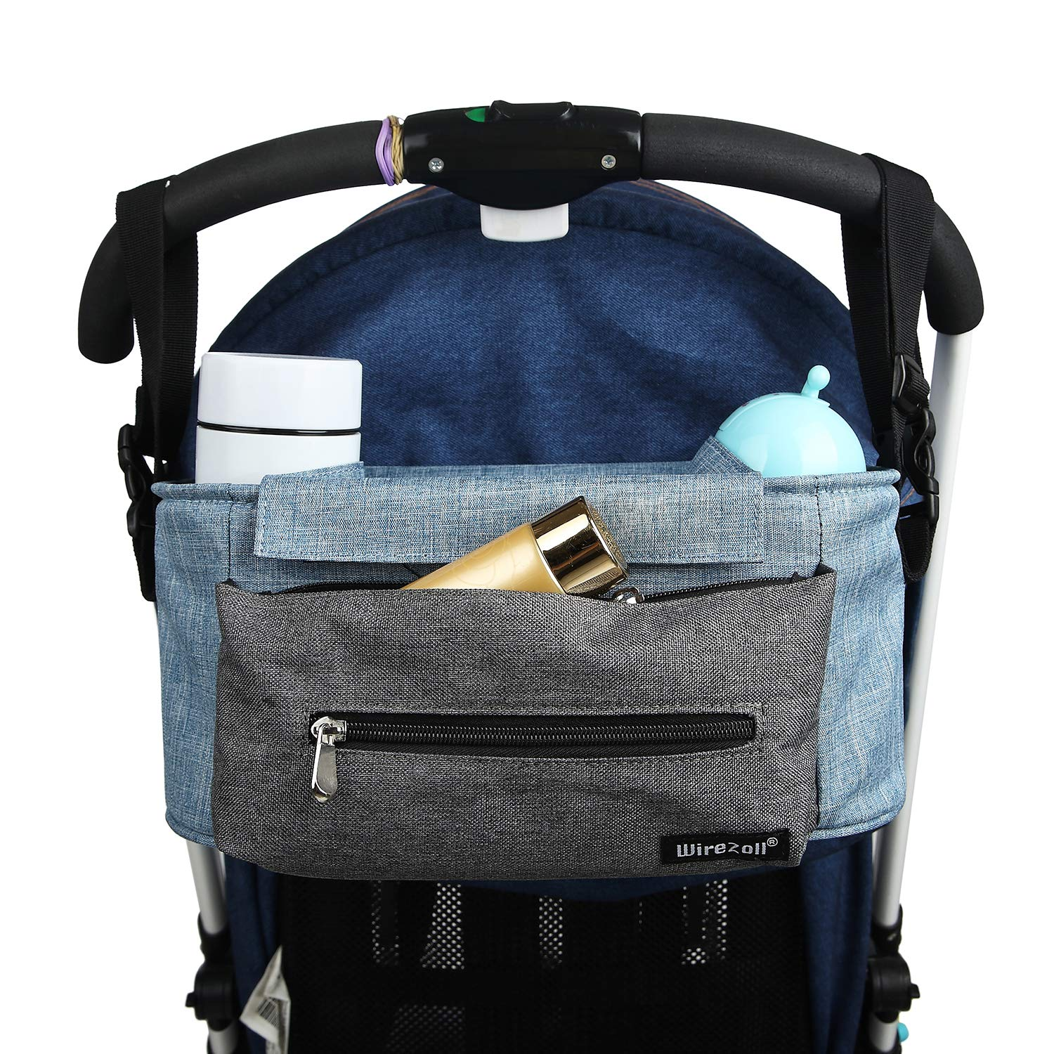 Wirezoll Buggy Organiser, Big Capacity Stroller Organiser for iPhone, Diapers, Toys and Accessories, with Compartment, Plus Shoulder Strap (Blue)
