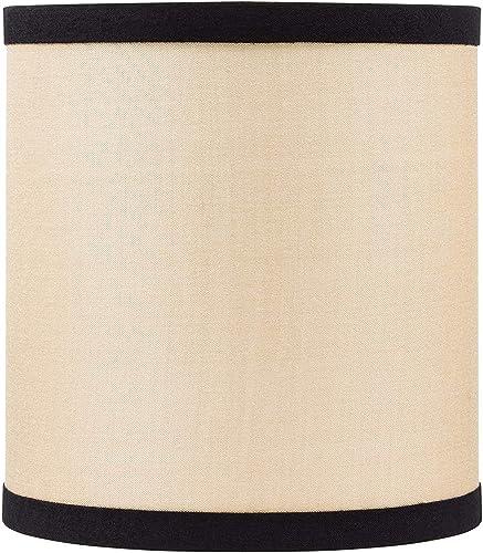 Upgradelights Natural Silk with Black Trim Drum Chandelier Lampshade 6 Inch