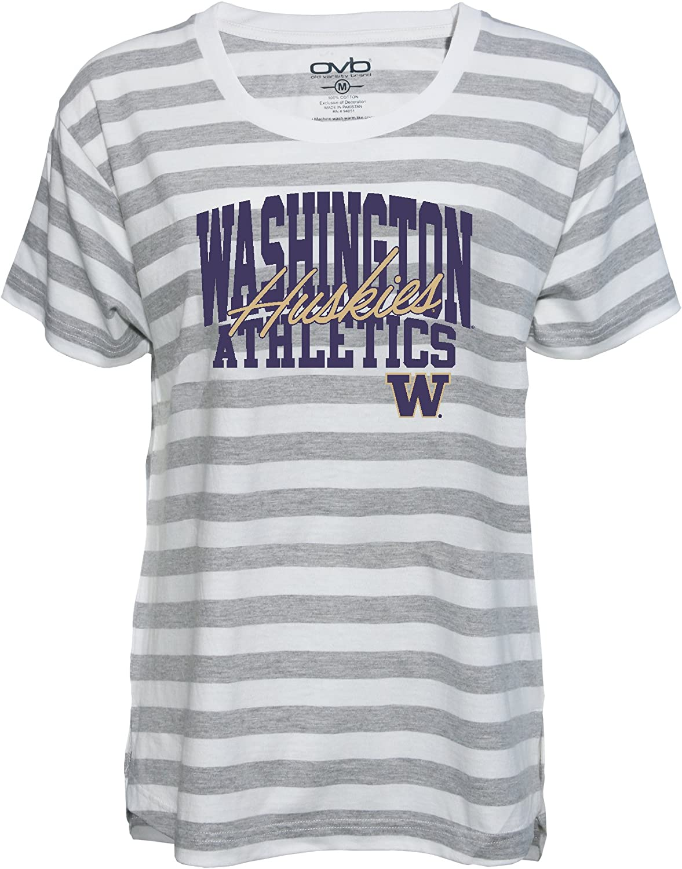 Large Old Varsity Brand NCAA Washington Huskies Womens Striped Game Day T-Shirt Grey//White
