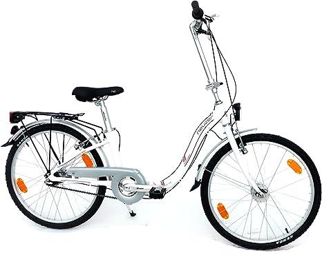 LANDER bicicleta plegable 24 pulgadas (=61) 7 marchas Marco de Aluminio dinamo de buje Equipamiento STVZO Color Blanco: Amazon.es: Deportes y aire libre
