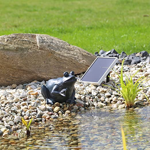 CLGarden NSP9 Rana de las aves acuáticas, Solar Gárgola Rana CLGarden Fuente para Estanque con bomba: Amazon.es: Jardín