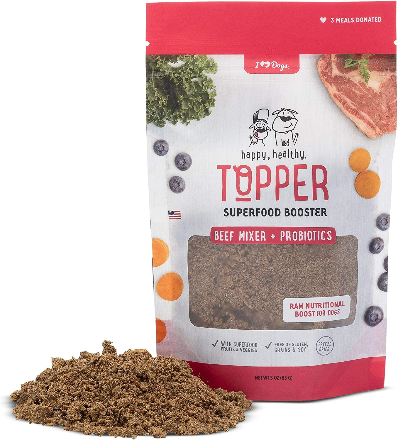 iHeartDogs Dog Food Topper - Freeze-Dried Raw Dog Food Seasoning - Grain Free Superfood Meal Mixer (Beef, 3 Ounce)