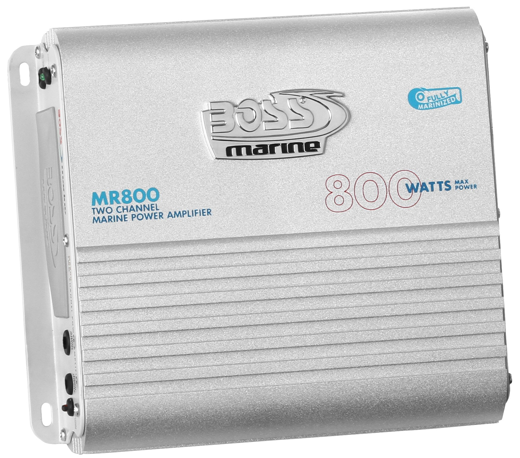 BOSS Audio MR800 Marine Grade 800 Watt, 2 Channel, 2/4 Ohm Stable Class A/B, Full Range, Bridgeable, MOSFET Power Supply Amplifier with Remote Subwoofer Control