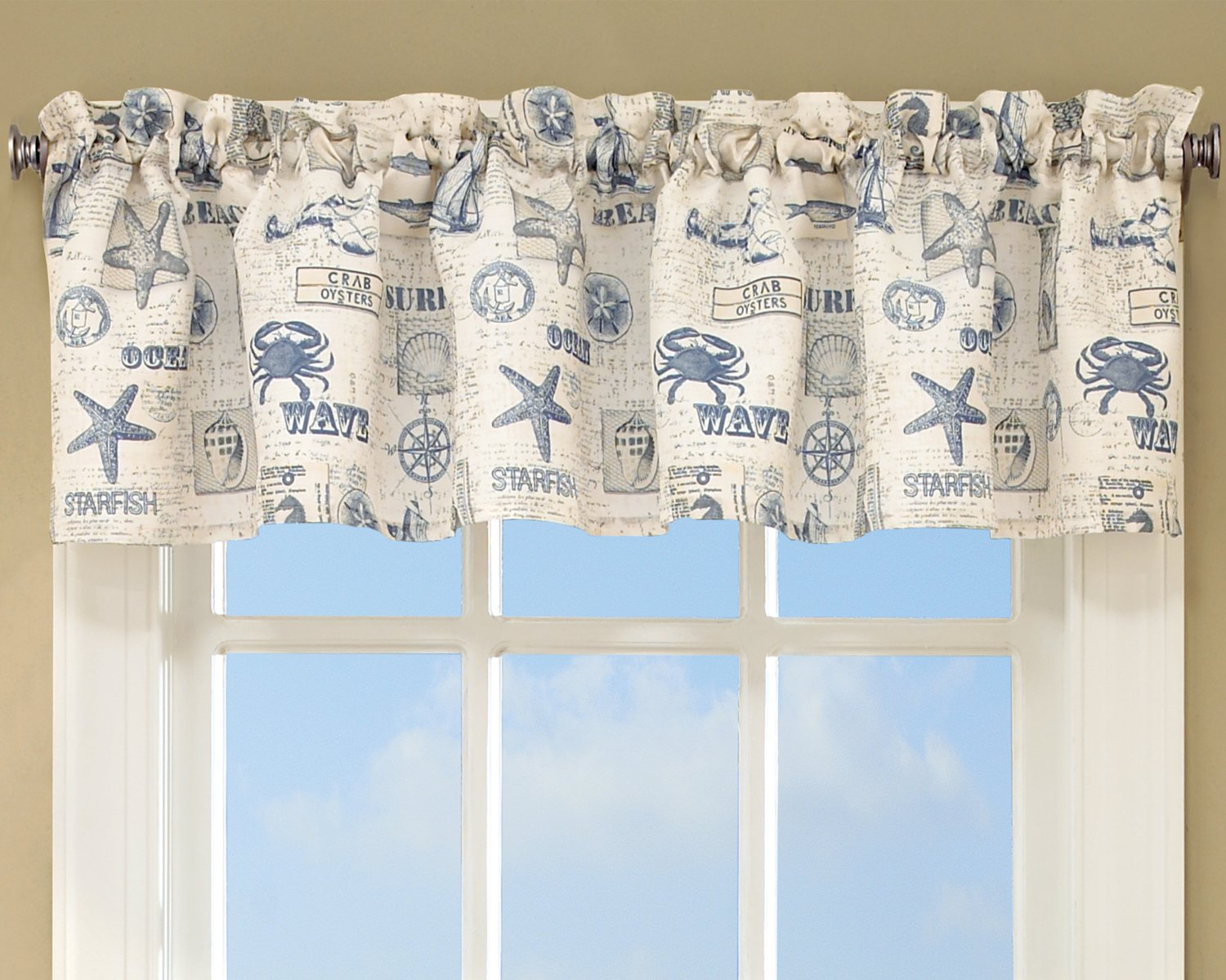 Sweet Home Collection Kitchen Window Tier, Swag, or Valance Curtain Treatment in Stylish and Unique Patterns and Designs for All Home Décor, Ocean Beach