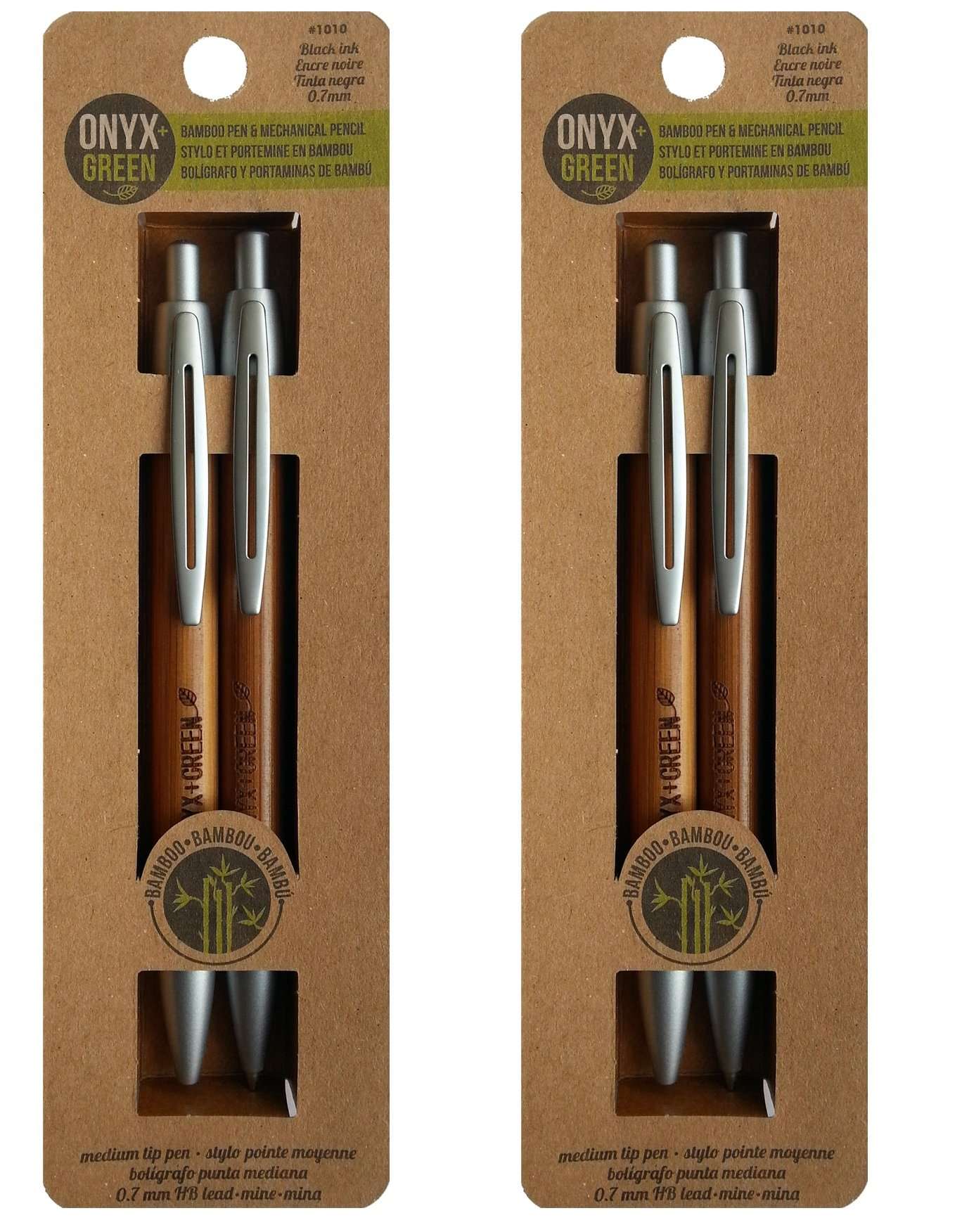 ONYX+GREEN Gel Twist Pen (Medium Tip - Black Ink) & Mechanical Lead Pencil 0.7mm Combo Set (2 Packs of Set), Eco-Friendly Pen/Pencil Made from Bamboo– for School Supplies, Office and Home