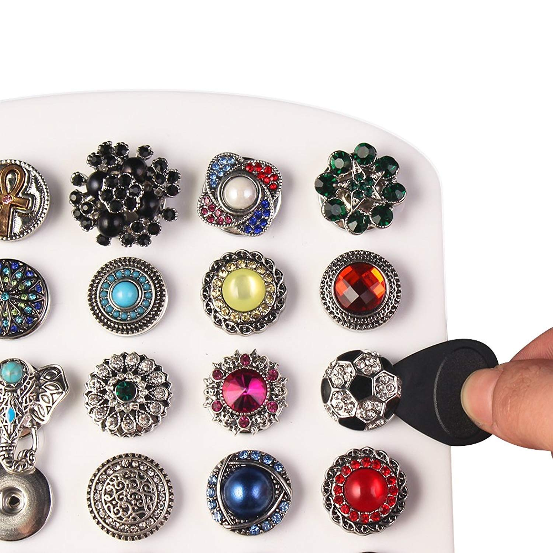 Morella Click-Button Set di Bottoni Klicks 18 mm o 20 mm di Diametro con Collana e Bracciale con Strass