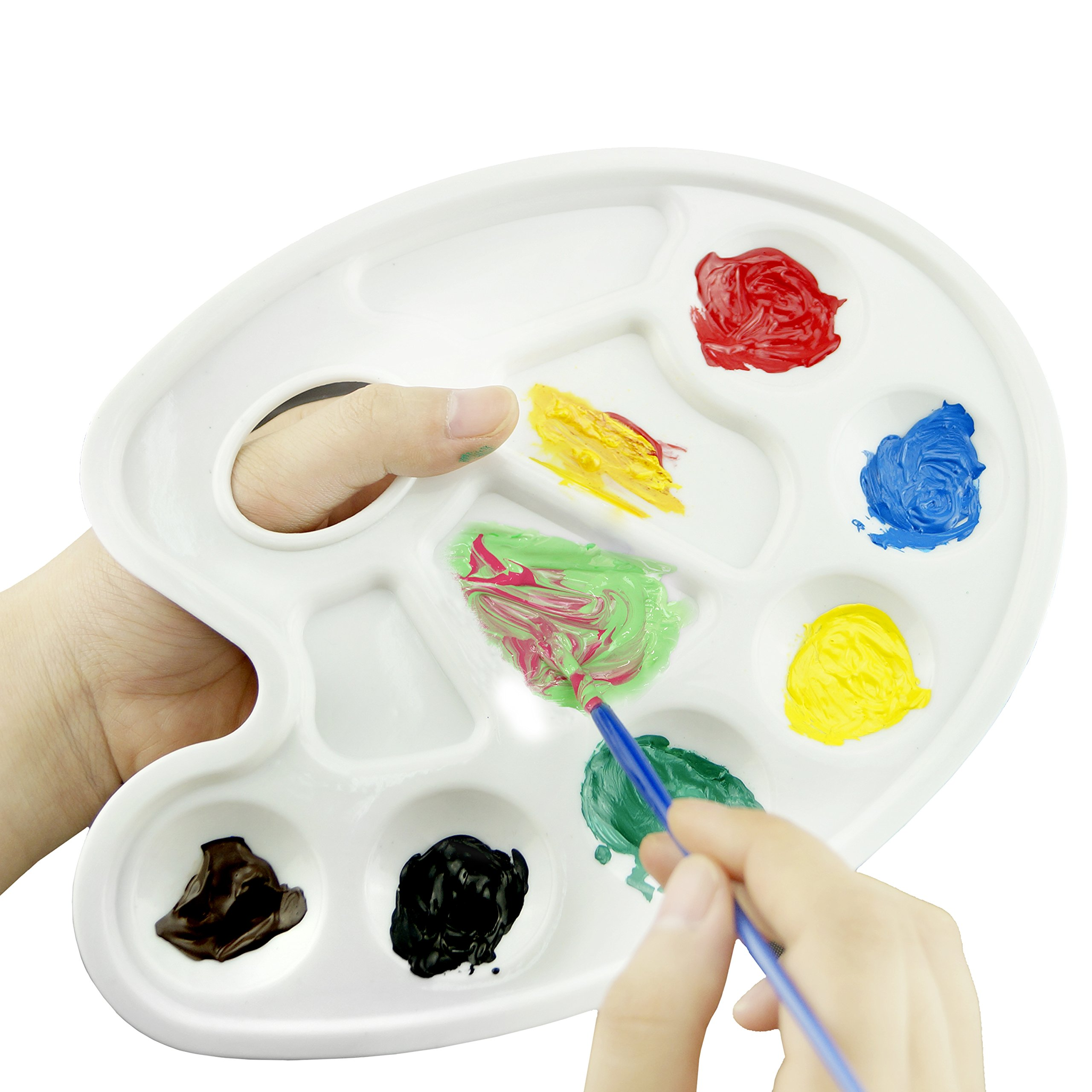 Tray Palette- 10 Pieces Traditionally Shaped Paint Tray Palettes with Thumb Hole - For Different Arts and Crafts Projects- With Kare and Kind Retail Packaging (10 Pieces, White)