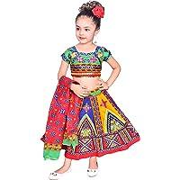 Ahhaaaa Kids Ethnic Cotton Blend Radha Dress Lehenga Choli Chania Choli Set Baby Girls 0011