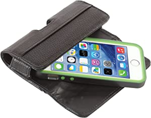 QuickFlipCase for iPhone 5 / iPhone 5S / iPhone SE/iPhone 5C, Premium Leather Horizontal Case with Belt Clip and Magnetic Enclosure, Also Fits Other Phones of Similar Size, Black