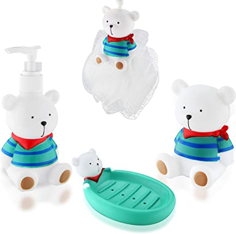 Fun Bathroom Accessories Set For Children 4 Piece Includes Lotion Soap Dispenser Toothbrush Holder Soap Holder And Bathing Ball Cute Cartoon White Bear Animal Theme Bath Set For Kids Home Kitchen