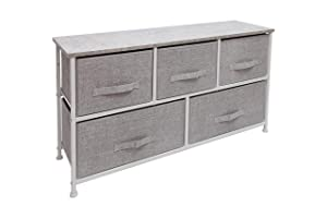 East Loft Extra Wide Storage Cube Dresser | Organizer for Closet, Nursery, Bathroom, Laundry or Bedroom | 5 Fabric Drawers, Solid Wood Top, Durable Steel Frame | Light Grey