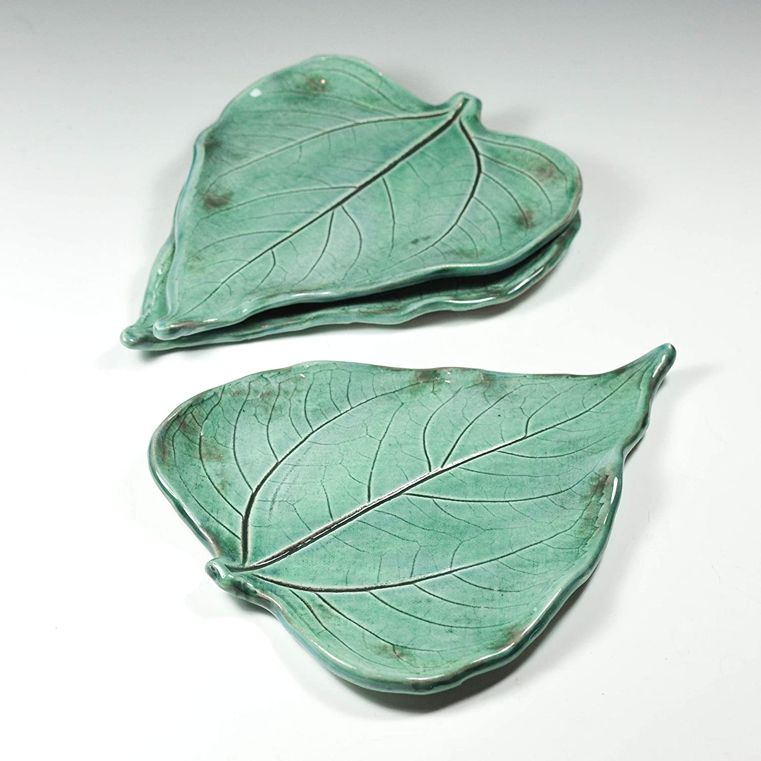 Soap Dish Large Turquoise Spoon Rest Handmade Pottery Leaf